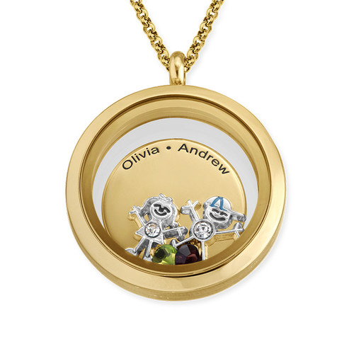 Floating Locket for Mum with Children Charms - Gold Plated