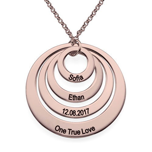 Four Open Circles Necklace with Engraving in Rose Gold Plating - 1