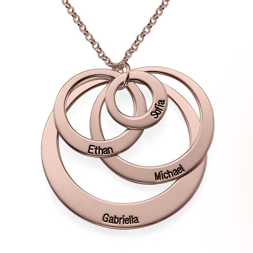 Four Open Circles Necklace with Engraving in Rose Gold Plating - 2