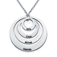 Four Open Circles Necklace with Engraving