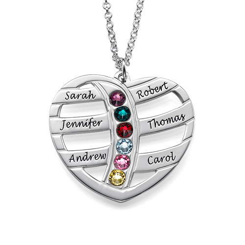Engraved Heart Necklace with Birthstones
