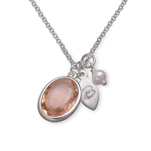 Glass Stone Pendant Necklace with Initial Leaf Charm