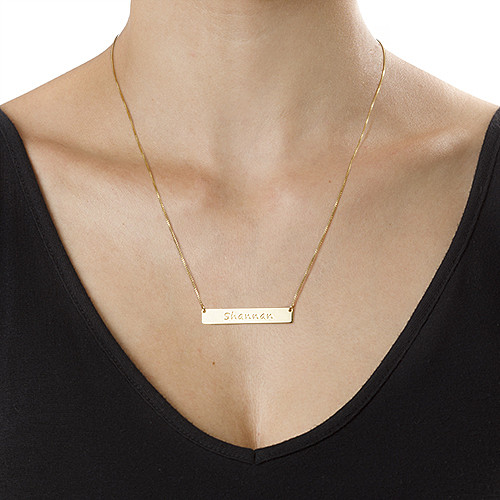 Gold Plated Bar Necklace - 1
