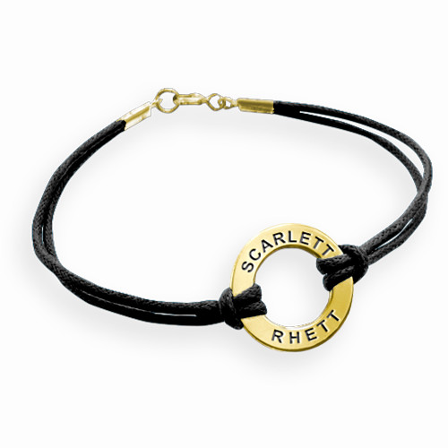 Gold Plated Circle Bracelet with Leather Style Cord