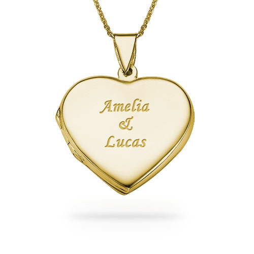 Gold Plated Engraved Necklace with Heart Locket