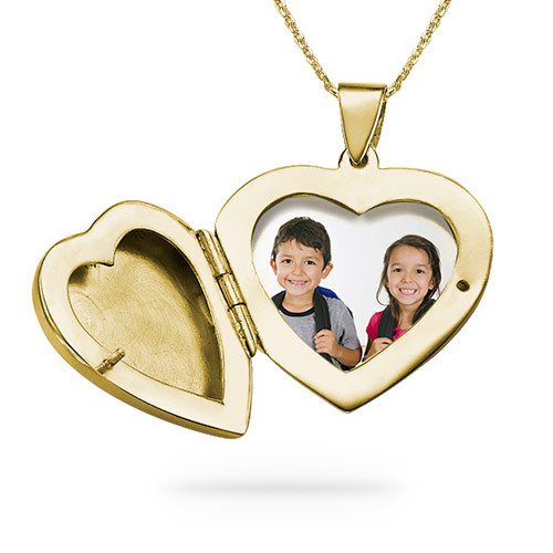 Gold Plated Engraved Necklace with Heart Locket - 1