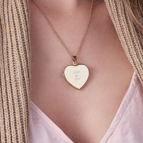 Gold Plated Engraved Necklace with Heart Locket - 3
