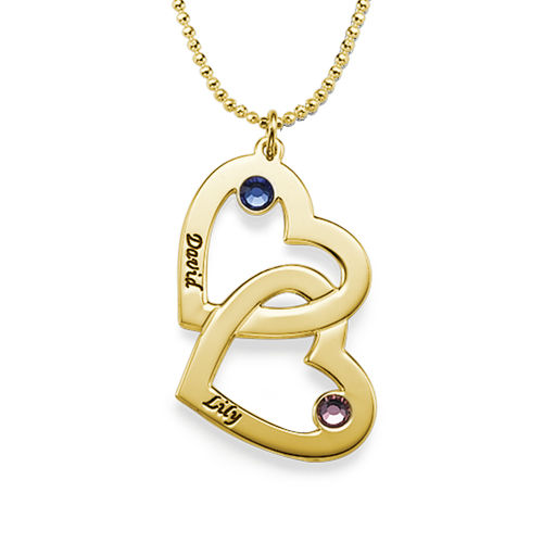 Gold-Plated Heart in Heart Birthstone Necklace
