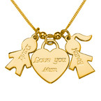 Gold Plated Kids Charm Necklace with Mum Pendant