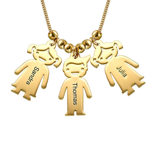 Gold Plated Mother's Necklace with Children Charms - 1