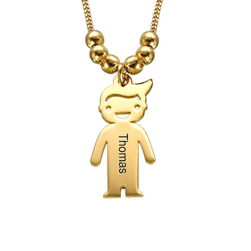Gold Plated Mother's Necklace with Children Charms - 2