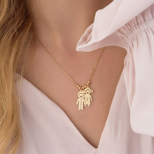 Gold Plated Mother's Necklace with Children Charms - 5