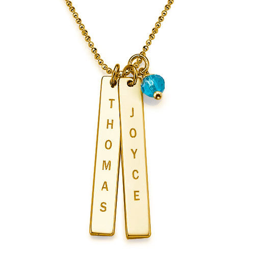 Gold Plated Name Tag Necklace - 1