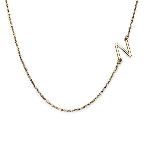 Gold Plated Sideways Initial Necklace