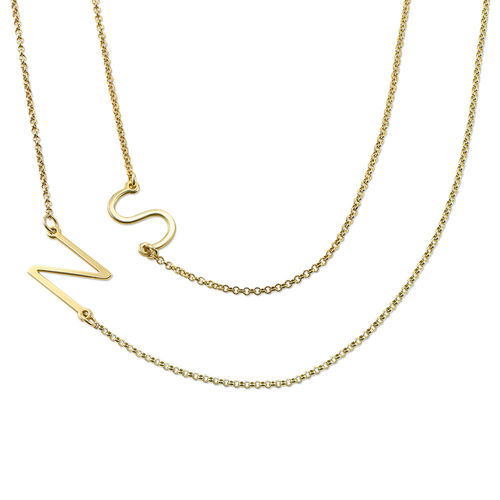 Gold Plated Sideways Initial Necklace - 1