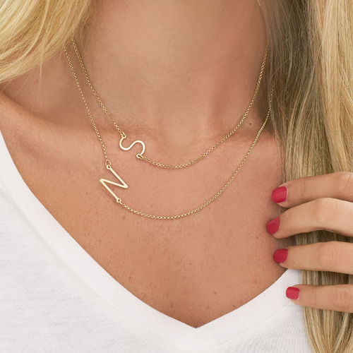 Gold Plated Sideways Initial Necklace - 2