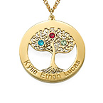 Gold Plated Tree of Life Necklace with Birthstones