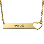 Heart Bar Necklace with Engraving - 18ct Gold Plated