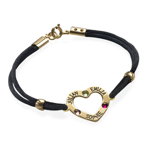 Heart Bracelet with Birthstones - 18ct Gold Plating
