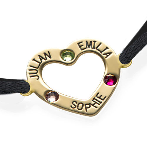 Heart Bracelet with Birthstones - 18ct Gold Plating - 1