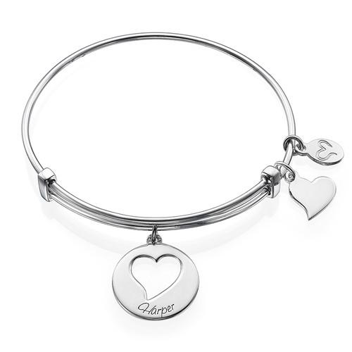 Heart Charm Bangle Bracelet