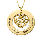Heart Family Tree Necklace in 24ct Gold Plating