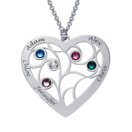 Heart Family Tree Necklace with birthstones in Silver Sterling