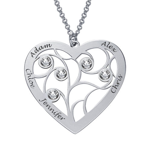 Heart Family Tree Necklace with birthstones in Silver Sterling - 1