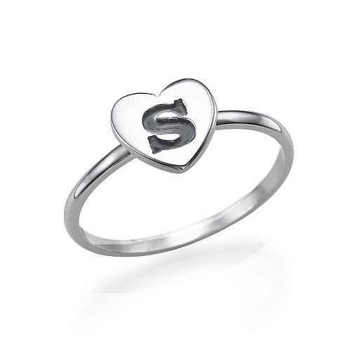 Heart Initial Ring in Silver