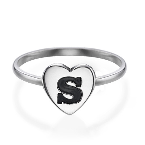 Heart Initial Ring in Silver - 1