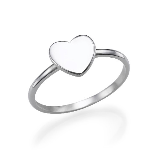 Heart Initial Ring in Silver - 2