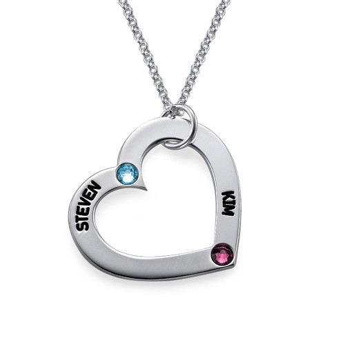 Heart Necklace with Birthstones - 1