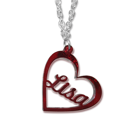 Heart Pendant Colour Necklace with Name