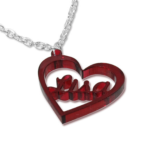 Heart Pendant Colour Necklace with Name - 1
