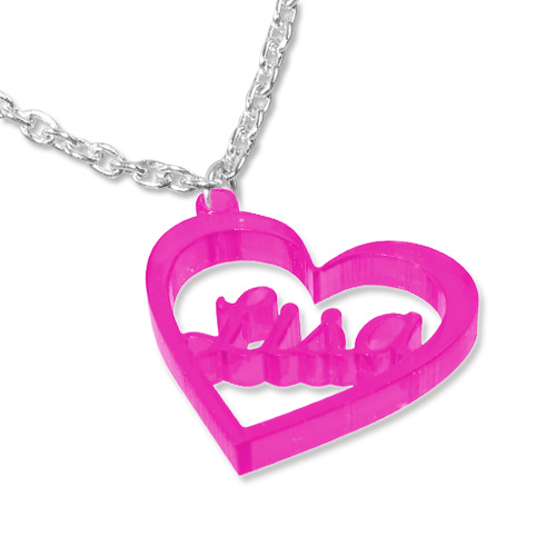 Heart Pendant Colour Necklace with Name - 2