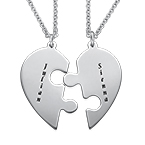 Heart Puzzle Piece Necklace Set with Engraving