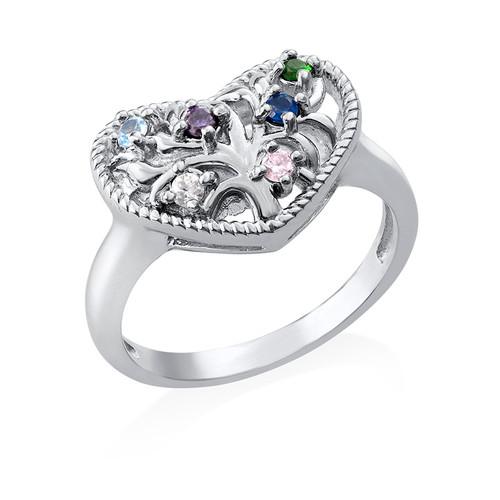 Heart Shaped Birthstone Ring