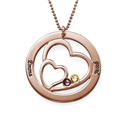 Heart in Heart Birthstone Necklace for Mums  - Rose Gold Plating - 1