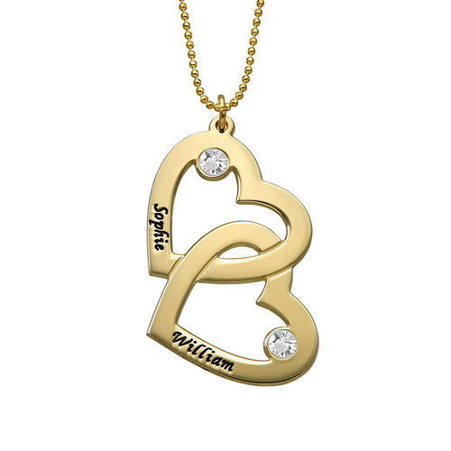 Heart in Heart Necklace with Birthstones - 10ct Gold - 1