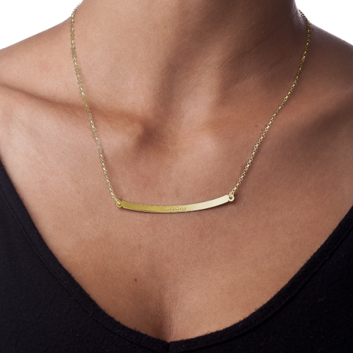 Horizontal Bar Necklace in 18ct Gold Plating - 1