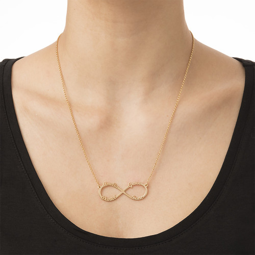 Infinity 4 Names Necklace with Gold Plating - 3