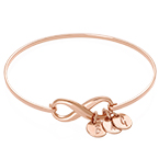 Infinity Bangle Bracelet with Initial Charms in Rose Gold Plating