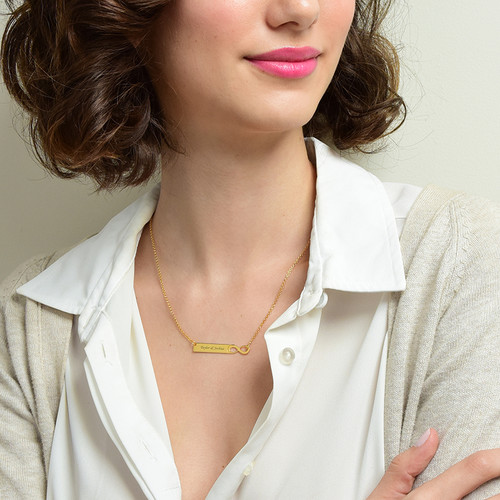 Infinity Bar Necklace with Engraving - 18ct Gold Plated - 1
