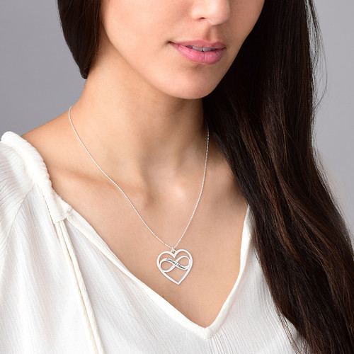 Infinity Heart Necklace with Engraving - 1