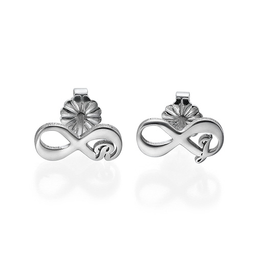 Infinity Stud Earrings with Initial - 1