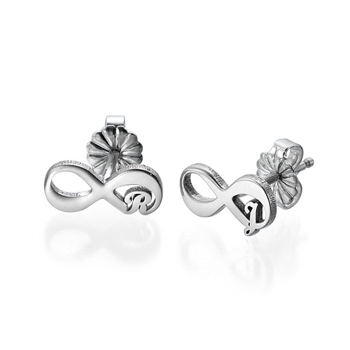 Infinity Stud Earrings with Initial - 2