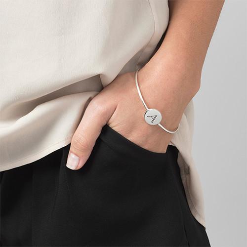 Initial Bangle Bracelet - Sterling Silver - Adjustable - 2