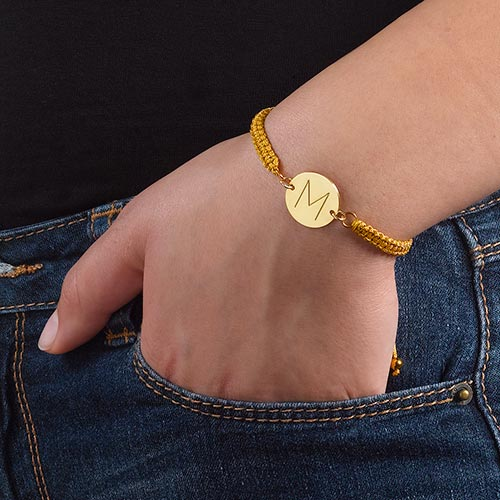 Initial Disc Bracelet in Gold Plating - 2