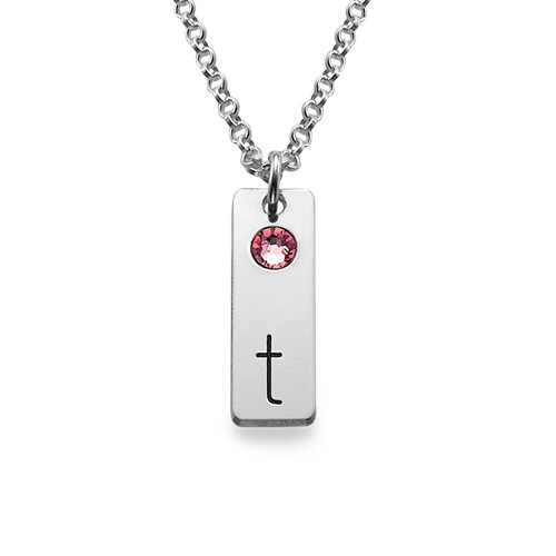 Initial Tag Necklace with Birthstones - 1