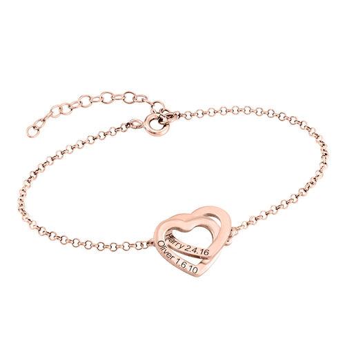Interlocking Hearts Bracelet with 18ct Rose Gold Plating - 1